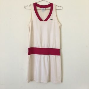 LACOSTE Athletic Tennis Dress Cream/Pink